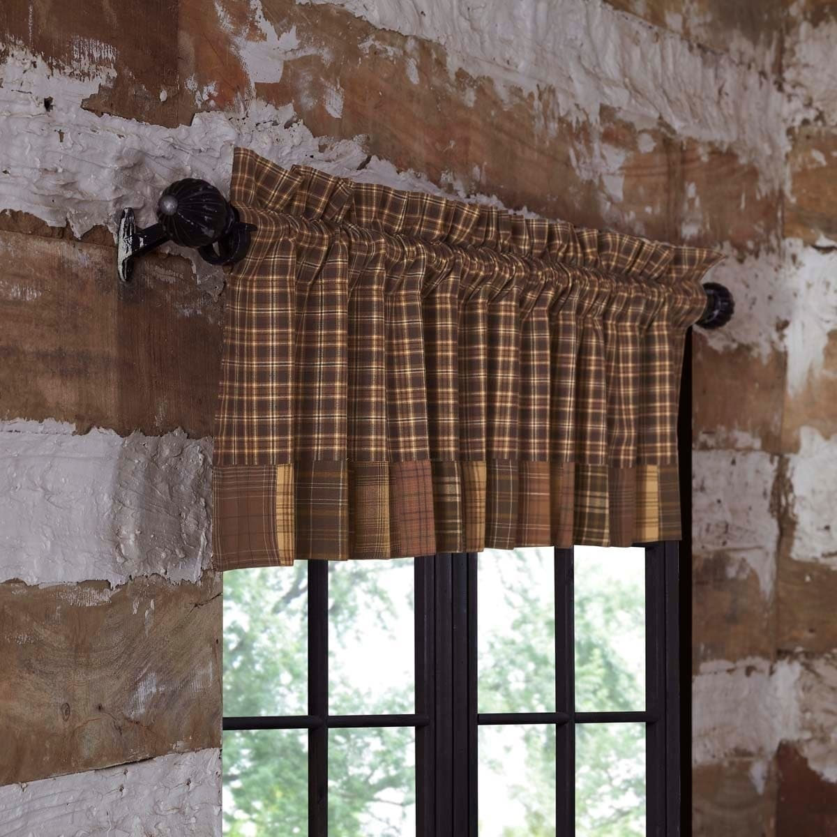 Brown Rustic Kitchen Curtains VHC Prescott Valance Rod Pocket Cotton Plaid  Patchwork - Valance 16x72