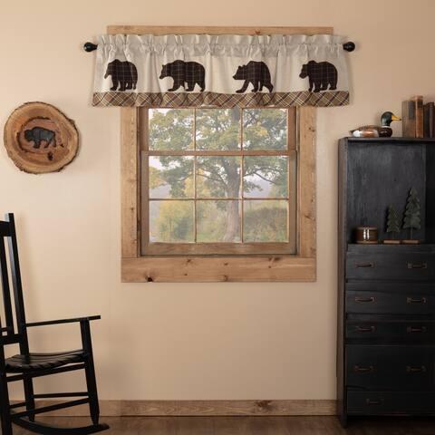 Tan Rustic Kitchen Curtains VHC Wyatt Bear Valance Rod Pocket Cotton Nature Print Appliqued Chambray