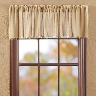 "Tobacco Cloth Fringed Valance (Option: Khaki - 16"" x 72"")"