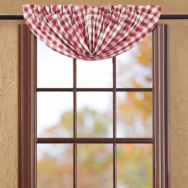 Shop Red Farmhouse Kitchen Curtains VHC Buffalo Check Balloon Valance Rod  Pocket Cotton Buffalo Check   15x60   Free Shipping On Orders Over $45    Overstock ...