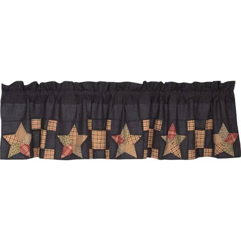 Tan Americana Kitchen Curtains VHC Arlington Valance Rod Pocket Cotton Star Patchwork - Valance 16x72
