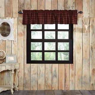Red Rustic Kitchen Curtains VHC Cumberland Valance Rod Pocket Cotton Buffalo Check