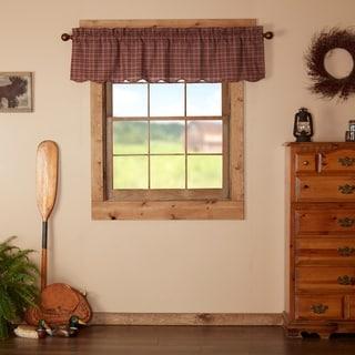 Red Rustic Kitchen Curtains VHC Parker Valance Rod Pocket Cotton Plaid