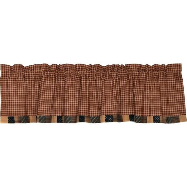 Red Primitive Kitchen Curtains VHC Patriotic Patch Valance Rod Pocket Cotton Plaid - Valance 16x72