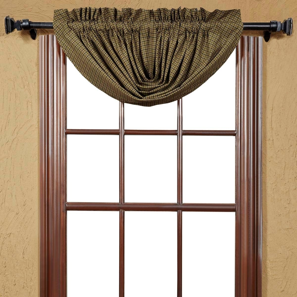 VHC Brands Tea Cabin Green Plaid Lined Balloon Valance - ...
