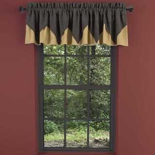 "Kettle Grove Layered Lined Plaid Valance - 16"" x 72"""