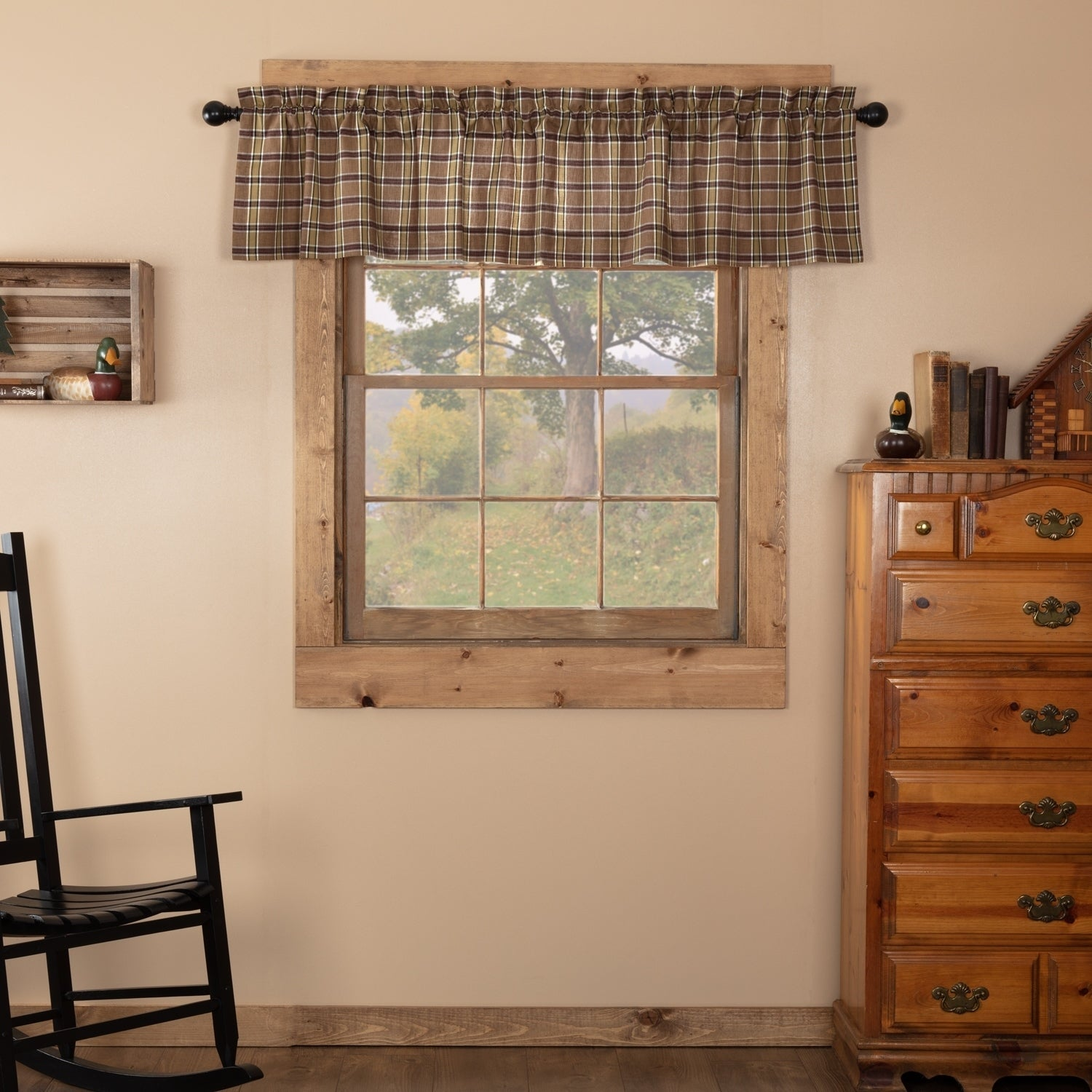 Details about Tan Rustic Kitchen Curtains VHC Wyatt Valance Rod Pocket  Raven, Khaki, Moss Gree