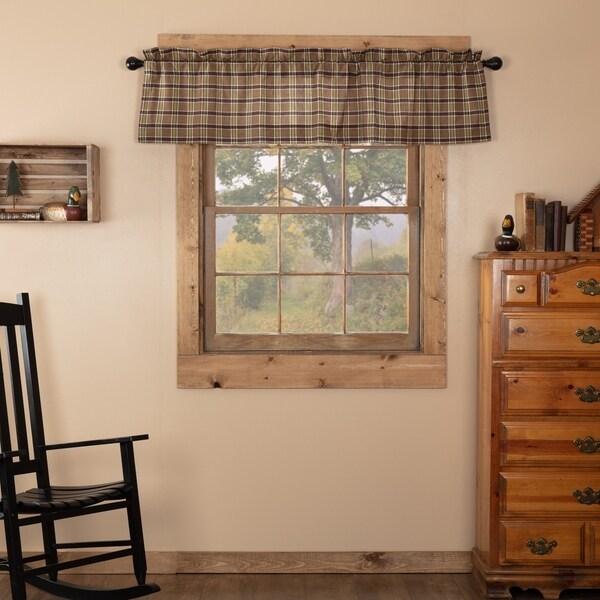 Tan Rustic Kitchen Curtains VHC Wyatt Valance Rod Pocket Cotton Plaid