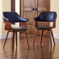 Corvus Norah Mid-Century Modern Accent Chair with Wood Legs (Set of 2)