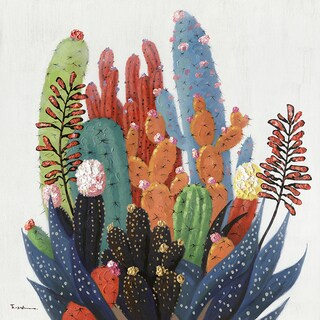 "40"" Colorful Cactus Oil Painting Wall Decor"