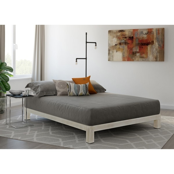 Shop Vesta White Metal Slatted Platform Bed Overstock