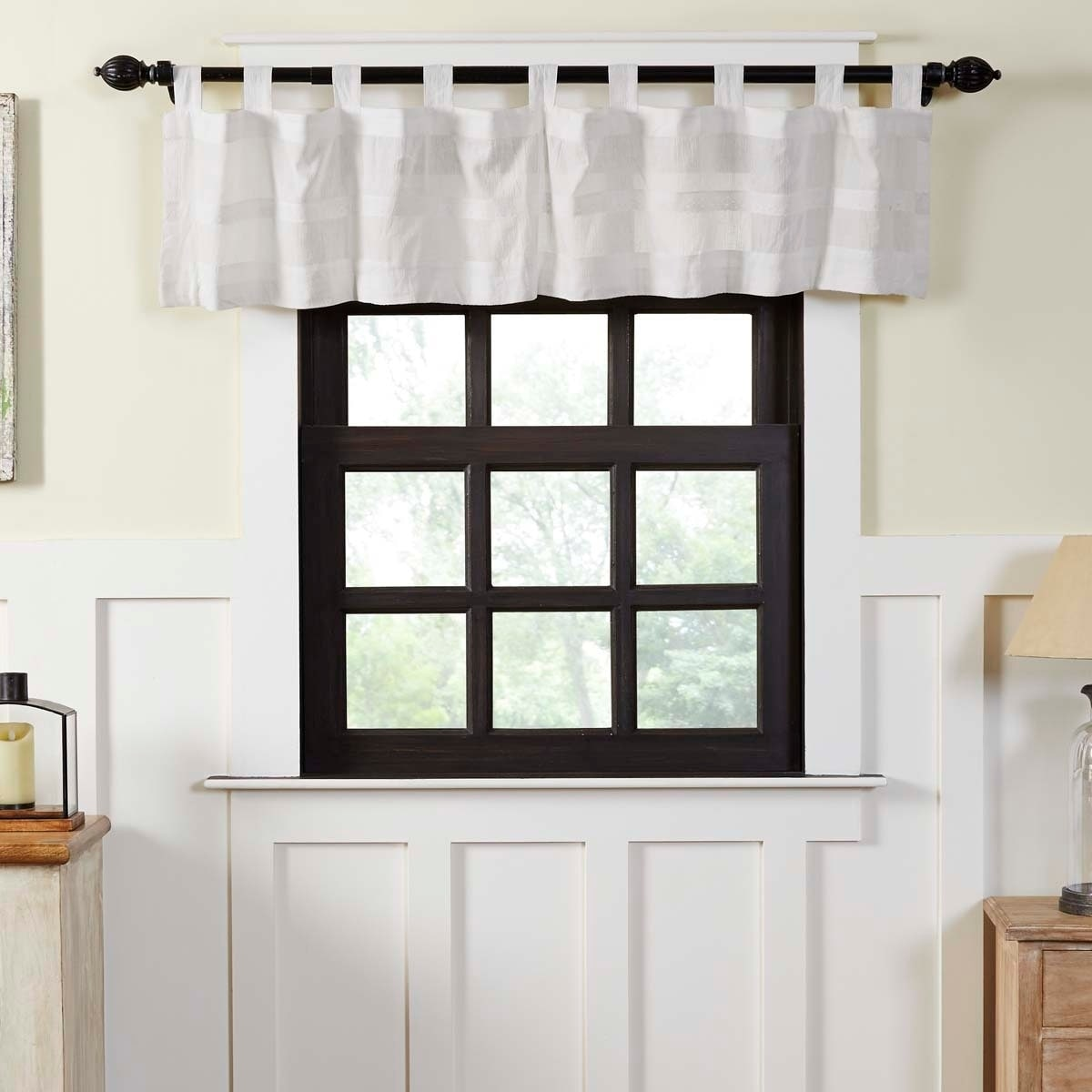 Farmhouse Kitchen Curtains VHC Quinn Valance Tab Top Cotton Solid Color  Lace Sheer