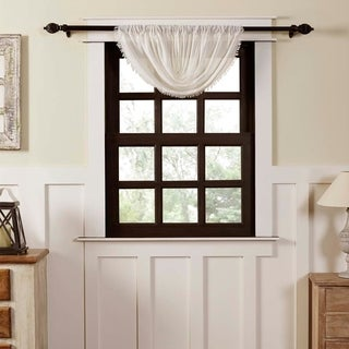 "Tobacco Cloth Fringed Balloon Valance - 15"" x 60"""