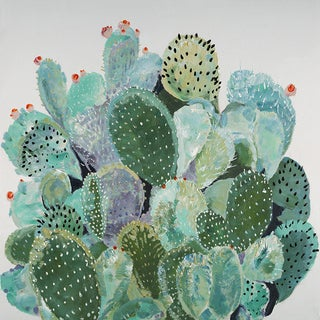 "40"" Green & Blue Cactus Oil Painting Wall Decor"