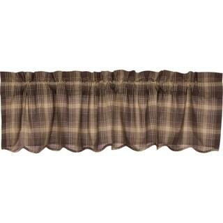 Brown Rustic Kitchen Curtains VHC Dawson Star Valance Rod Pocket Cotton Plaid