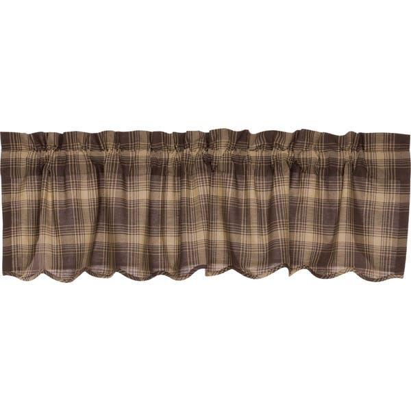 Brown Rustic Kitchen Curtains VHC Dawson Star Valance Rod Pocket Cotton  Plaid