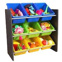 3-Tier Kid's Toy Storage Organizer with 9 Plastic Bins