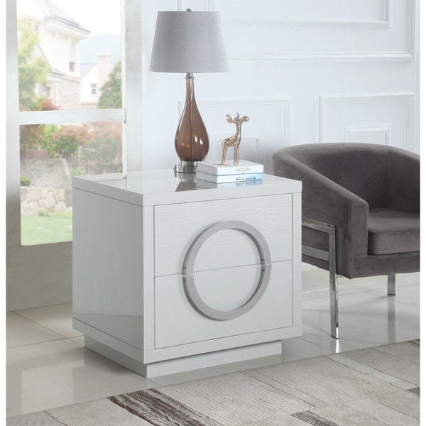 Chic Home Norcia Nightstand Side Table Crocodile Lacquer Finish with 2 Self Closing Drawers, Modern Contemporary