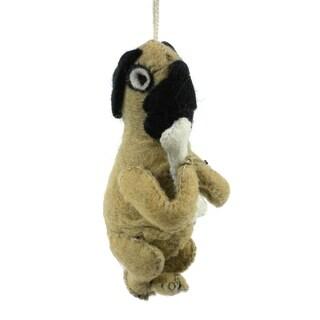 Handmade Felt Pug Dog Ornament (Kyrgyzstan)