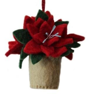 Handmade Poinsettia Felt Ornament (Kyrgyzstan)