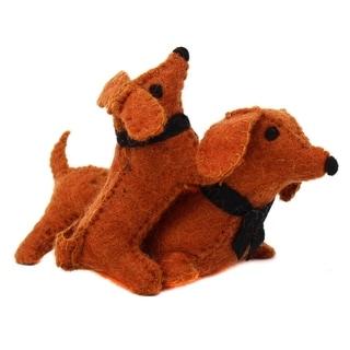 Handmade Felt Dashchund with Puppy Ornament (Kyrgyzstan)