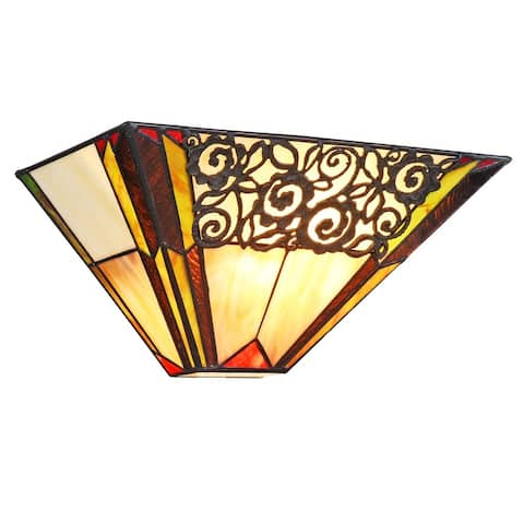 Evelyn Tiffany Style 1-light Black Wall Sconce