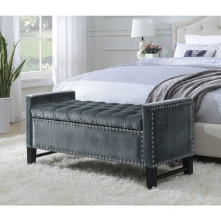 Link to Chic Home Harvey Neo Traditional Velvet Tufted Storage Bench Similar Items in Ottomans & Storage Ottomans
