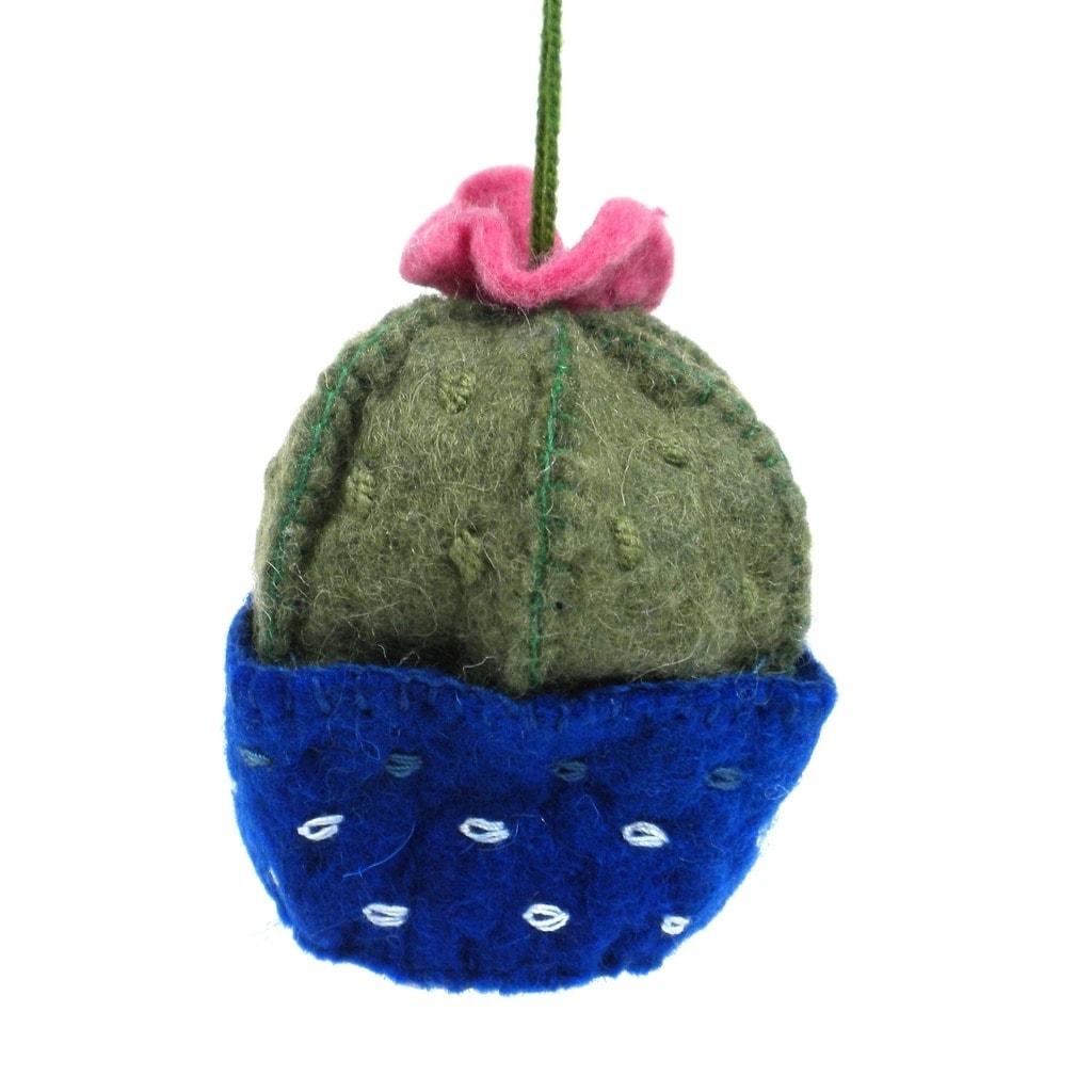 Handmade  Felt Barrel Cactus Ornament (Kyrgyzstan)