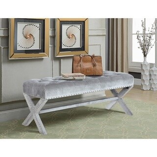 Chic Home Bentley Velvet Modern Contemporary Button Tufted with Silver Nailheads Seating, Frame and Legs X-Leg Tufted Bench