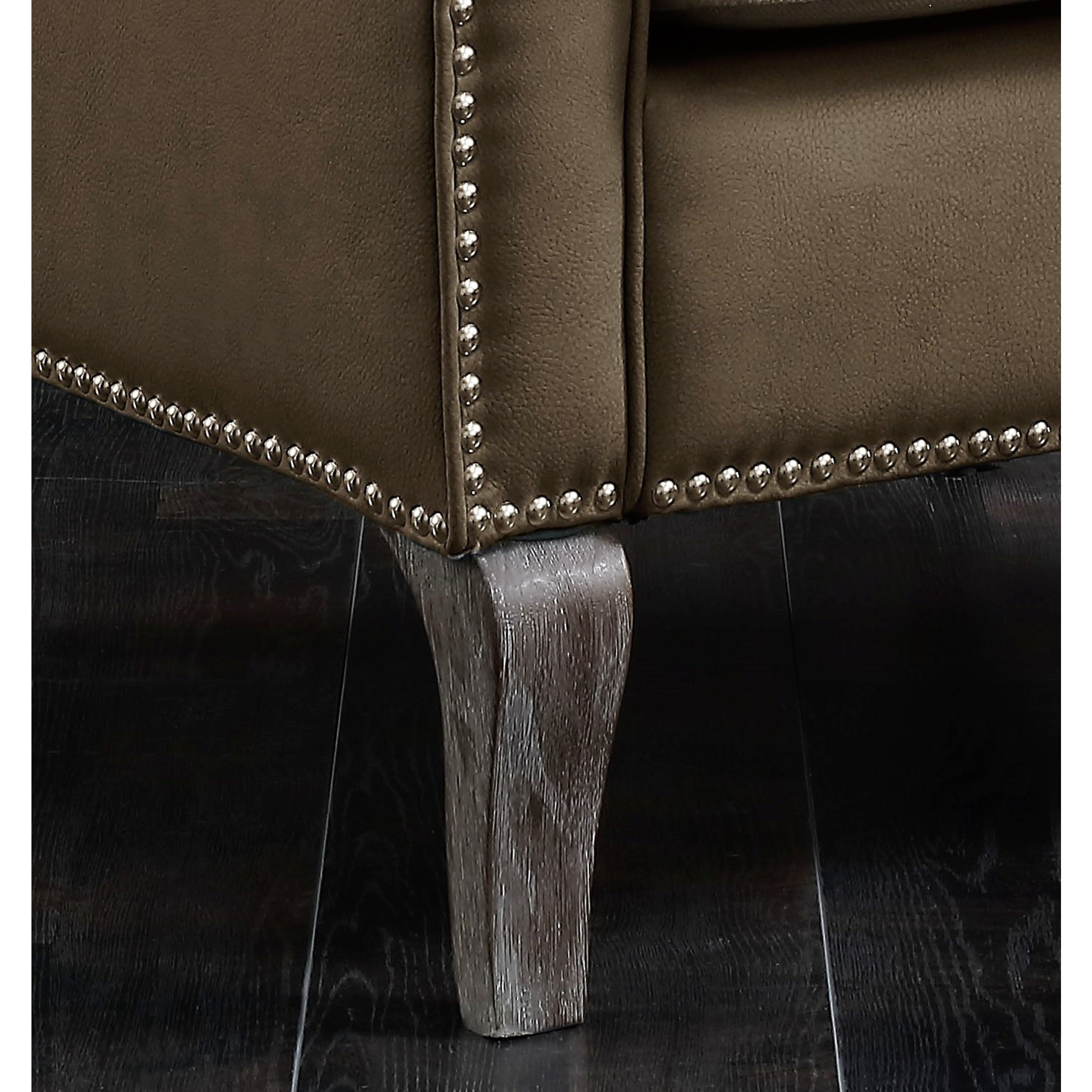 Wondrous Chic Home Kris Mixed Material Linen Leatherette Nailhead Accent Chair Short Links Chair Design For Home Short Linksinfo