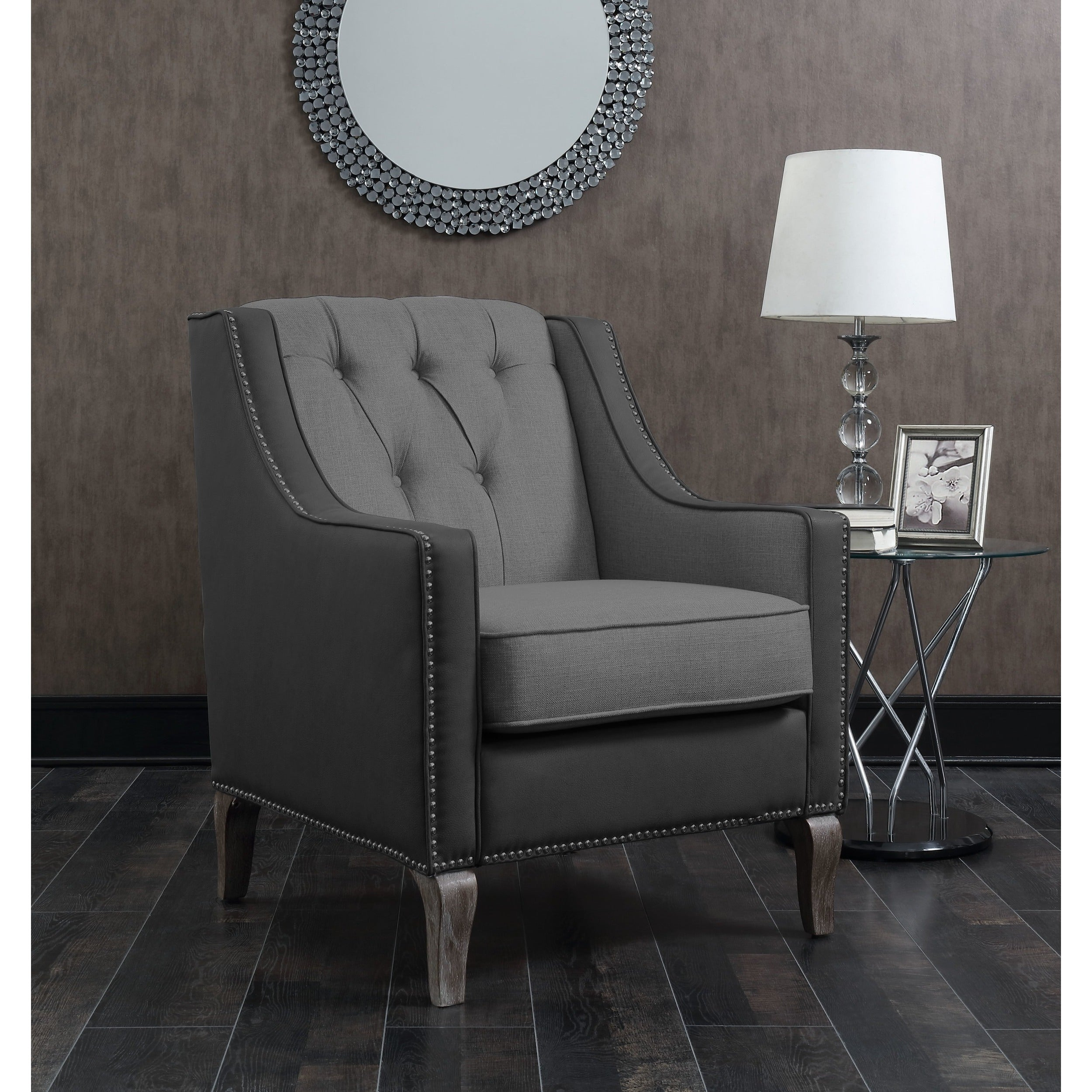 Chic Home Kris Mixed Material Linen Leatherette Nailhead