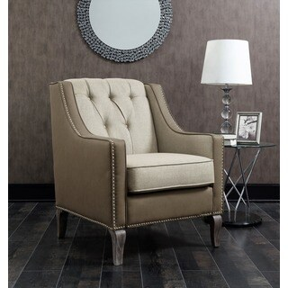 Chic Home Kris Mixed Material Linen Leatherette Nailhead Accent Chair