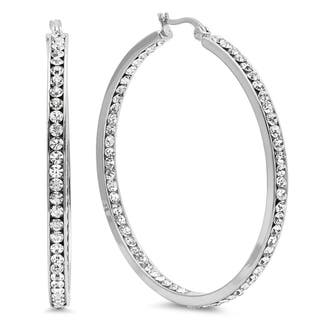Piatella Ladies Cubic Zirconia In and Out Hoop Earrings in 2 Colors|https://ak1.ostkcdn.com/images/products/17926097/P24107002.jpg?impolicy=medium