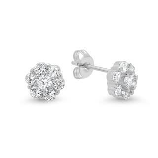 Piatella Ladies Brass Cubic Zirconia Flower Stud Earrings in 3 Colors|https://ak1.ostkcdn.com/images/products/17926116/P24107005.jpg?impolicy=medium