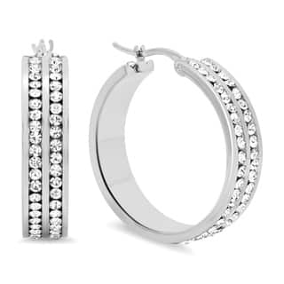 Piatella Ladies Cubic Zirconia Double Layered Inlay Hoop Earrings in 3 Colors|https://ak1.ostkcdn.com/images/products/17926125/P24107055.jpg?impolicy=medium