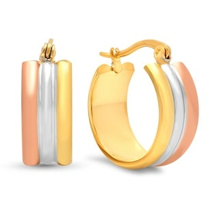 Piatella Ladies Tri-Colored Hoop Earrings