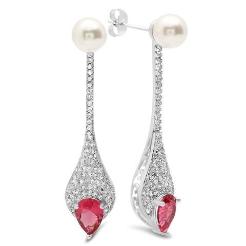 Piatella Ladies Gold Tone Simulated Pearl and Cubic Zirconia Drop Earrings in 3 Colors