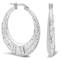 Piatella Ladies Round and Baguette Crystal Pave Hoop Earrings in 3 Colors