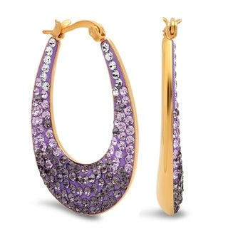 Piatella Ladies Gradient Crystal Oval Hoop Earrings in 5 Colors