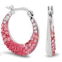 Piatella Ladies Gradient Crystal Hoop Earrings in 7 Colors