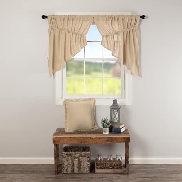 Shop Farmhouse Kitchen Curtains VHC Cotton Burlap Prairie ...