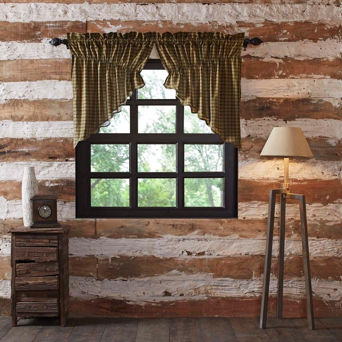 Details about Green Rustic Kitchen Curtains VHC Barrington Prairie Swag  Deep Green, Natural, D