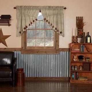 Tan Country Kitchen Curtains VHC Abilene Star Prairie Swag Pair Rod Pocket Cotton Star Appliqued Textured - 36x36