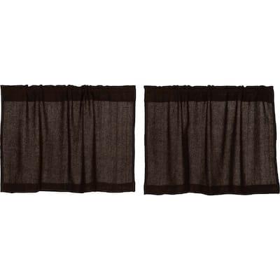 Farmhouse Kitchen Curtains VHC Cotton Burlap Tier Pair Rod Pocket Solid Color