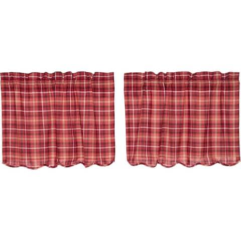 Red Rustic Kitchen Curtains VHC Braxton Tier Pair Rod Pocket Cotton Plaid
