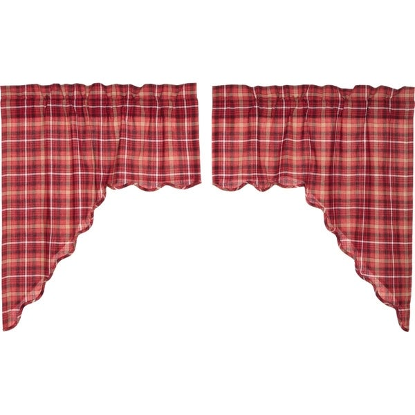 Shop Red Rustic Kitchen Curtains VHC Braxton Swag Pair Rod Pocket Cotton  Plaid   36x36   Free Shipping On Orders Over $45   Overstock   17926211