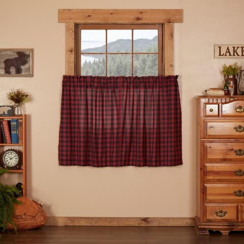 Red Rustic Kitchen Curtains VHC Cumberland Tier Pair Rod Pocket Cotton Buffalo Check