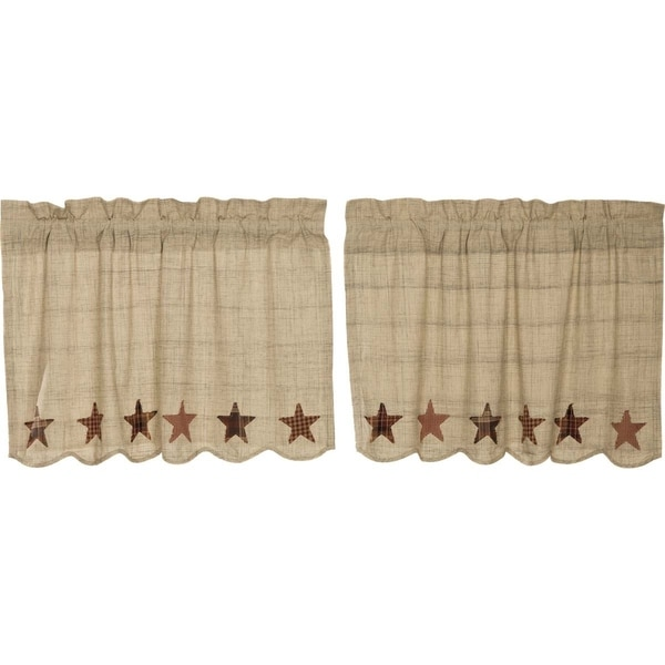 Tan Country Kitchen Curtains VHC Abilene Star Tier Pair Rod Pocket Cotton Star Appliqued Textured