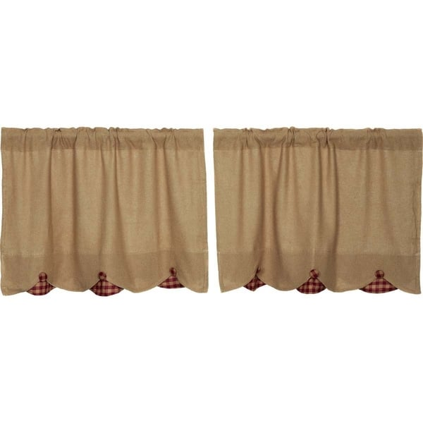 Shop Farmhouse Kitchen Curtains Vhc Burlap Natural Check