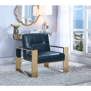 Chic Home Stefan Sculptural Polished Nickel in Finished Stainless Steel Leatherette Accent Chair